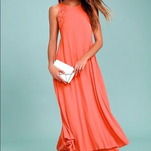ASTR THE LABEL-CORAL PINK LACE-UP MIDI DRESS
